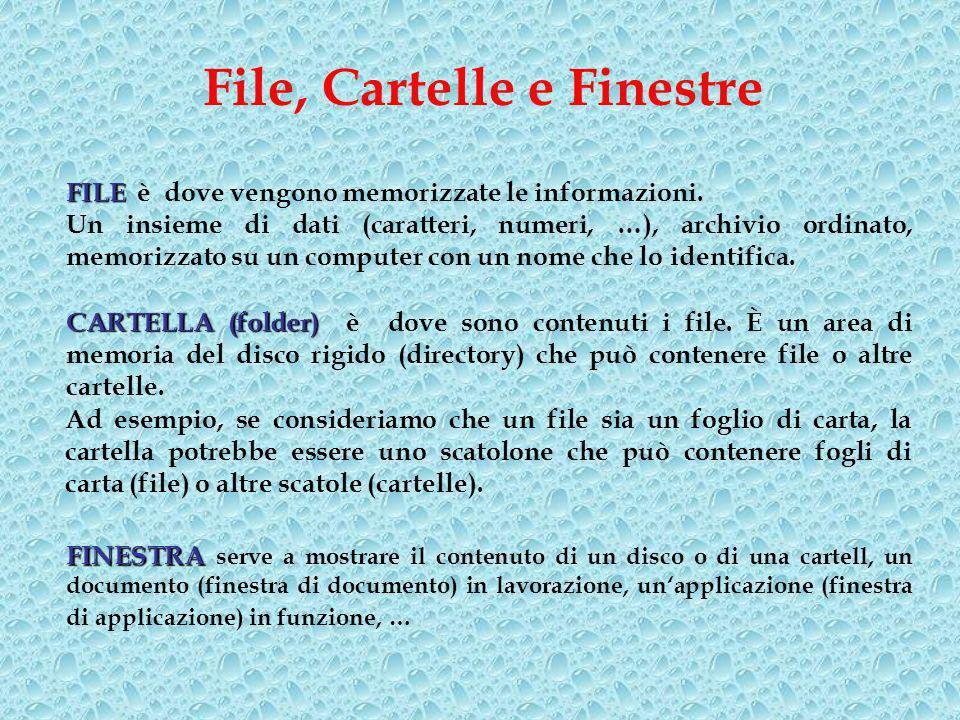 File, Cartelle e Finestre FILE FILE è dove vengono memorizzate le informazioni.