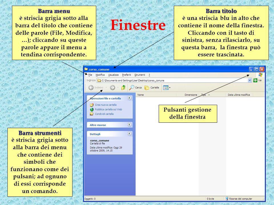 Finestre Pulsanti gestione della finestra Barrastrumenti Barra strumenti è striscia grigia sotto alla barra dei menu che contiene dei simboli che funzionano come dei pulsani; ad ognuno di essi corrisponde un comando.