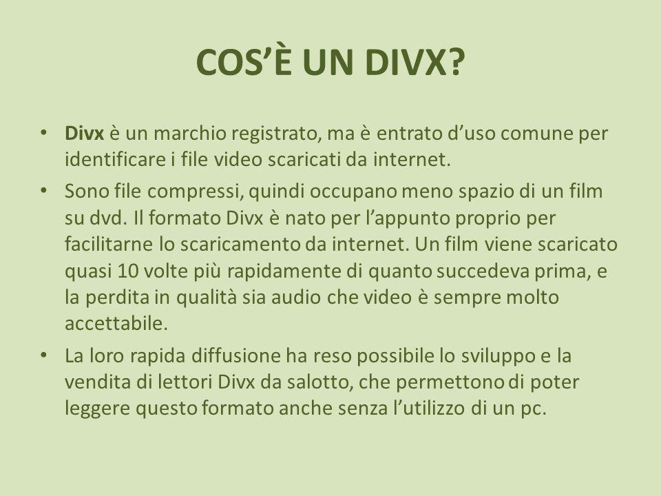 COSÈ UN DIVX? Divx è un marchio registrato, ma è entrato duso comune per identificare i file video scaricati da internet. Sono file compressi, quindi
