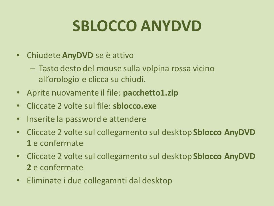 SBLOCCO ANYDVD Chiudete AnyDVD se è attivo – Tasto desto del mouse sulla volpina rossa vicino allorologio e clicca su chiudi. Aprite nuovamente il fil
