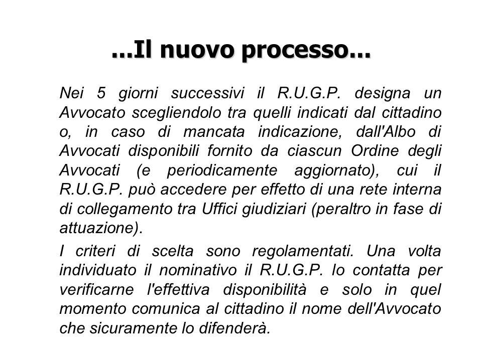 ...Il nuovo processo... Nei 5 giorni successivi il R.U.G.P. designa un Avvocato scegliendolo tra quelli indicati dal cittadino o, in caso di mancata i