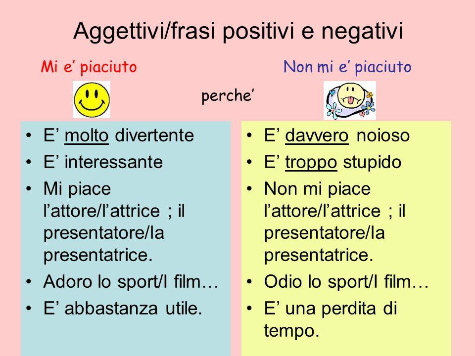 Aggettivi/frasi positivi e negativi E molto divertente E interessante Mi piace lattore/lattrice ; il presentatore/la presentatrice.