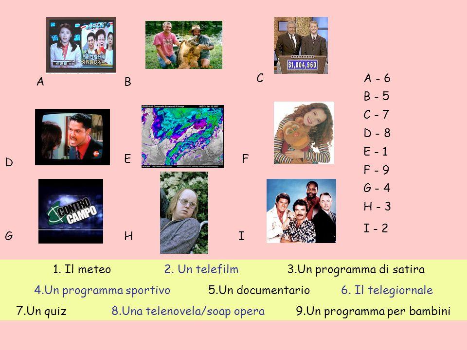 1.Il meteo 2. Un telefilm 3.Un programma di satira 4.Un programma sportivo 5.Un documentario 6.