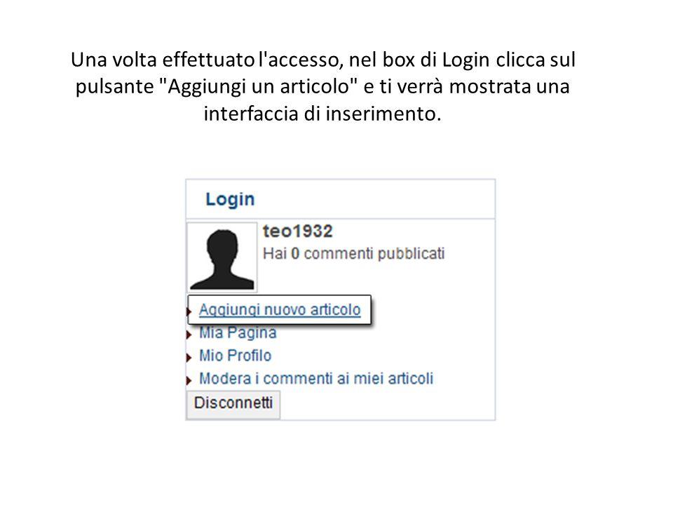 Una volta effettuato l accesso, nel box di Login clicca sul pulsante Aggiungi un articolo e ti verrà mostrata una interfaccia di inserimento.
