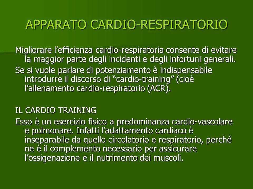 APPARATO CARDIO-RESPIRATORIO Migliorare lefficienza cardio-respiratoria consente di evitare la maggior parte degli incidenti e degli infortuni general