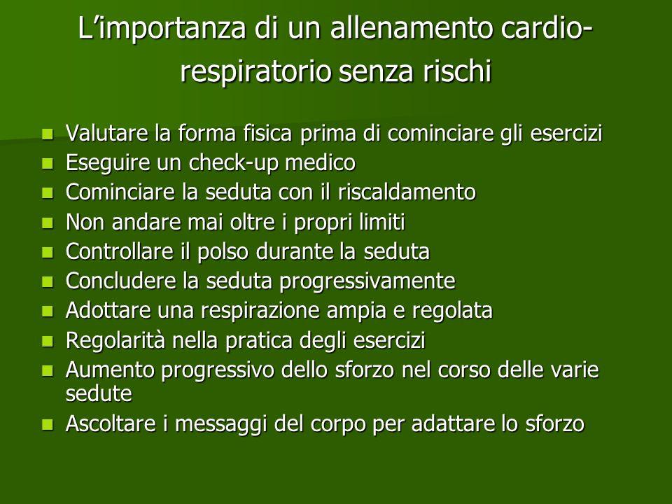 Limportanza di un allenamento cardio- respiratorio senza rischi Valutare la forma fisica prima di cominciare gli esercizi Valutare la forma fisica pri