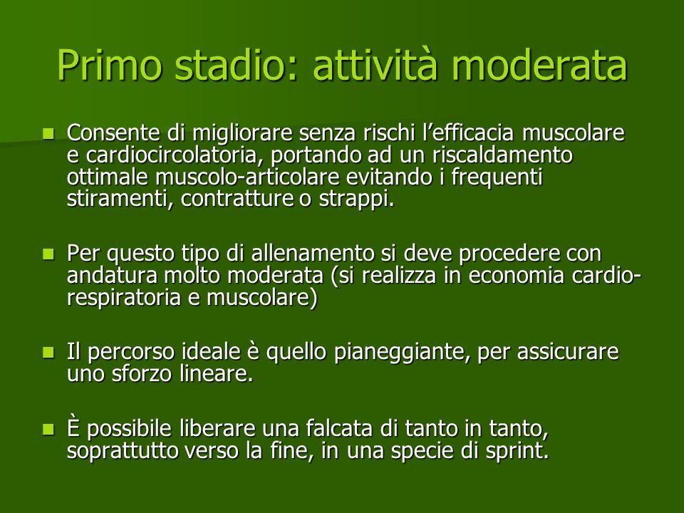 Primo stadio: attività moderata Consente di migliorare senza rischi lefficacia muscolare e cardiocircolatoria, portando ad un riscaldamento ottimale m