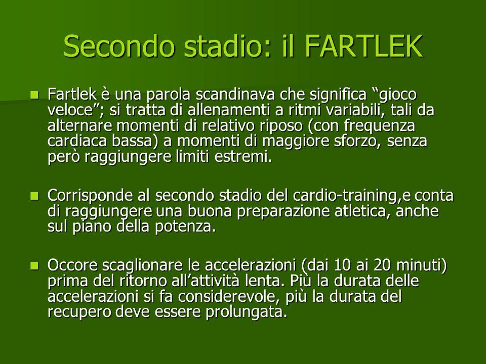 Secondo stadio: il FARTLEK Fartlek è una parola scandinava che significa gioco veloce; si tratta di allenamenti a ritmi variabili, tali da alternare m