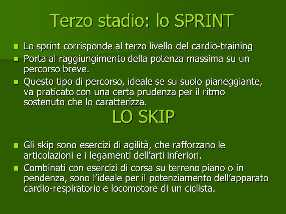 Terzo stadio: lo SPRINT Lo sprint corrisponde al terzo livello del cardio-training Lo sprint corrisponde al terzo livello del cardio-training Porta al