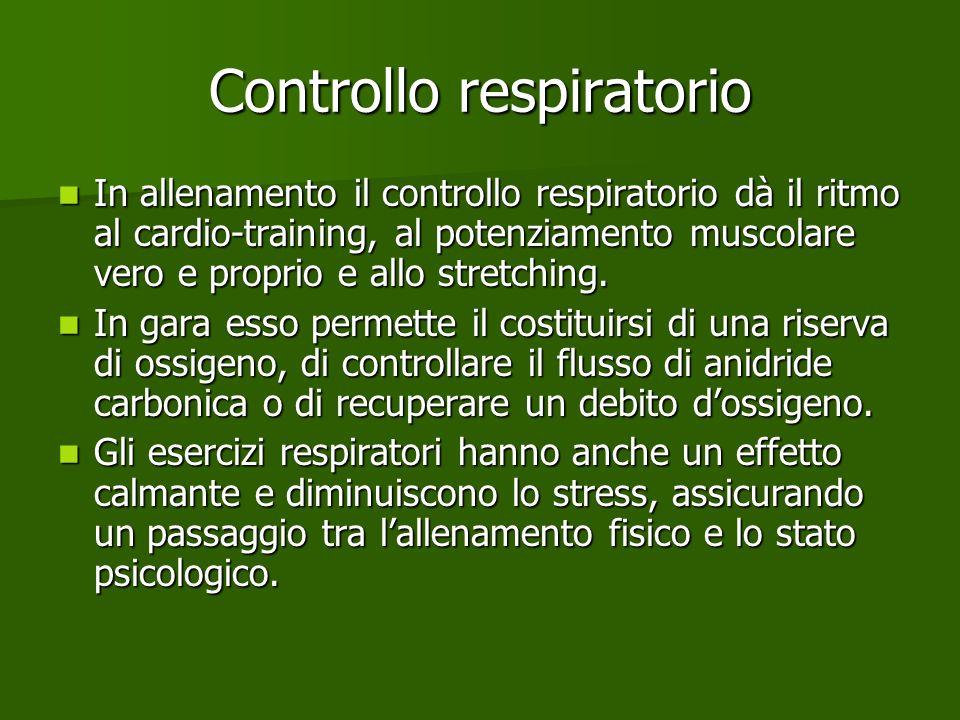 Controllo respiratorio In allenamento il controllo respiratorio dà il ritmo al cardio-training, al potenziamento muscolare vero e proprio e allo stret