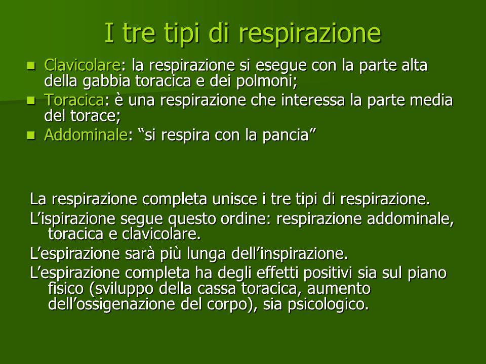 I tre tipi di respirazione Clavicolare: la respirazione si esegue con la parte alta della gabbia toracica e dei polmoni; Clavicolare: la respirazione