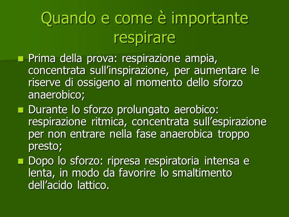 Quando e come è importante respirare Prima della prova: respirazione ampia, concentrata sullinspirazione, per aumentare le riserve di ossigeno al mome