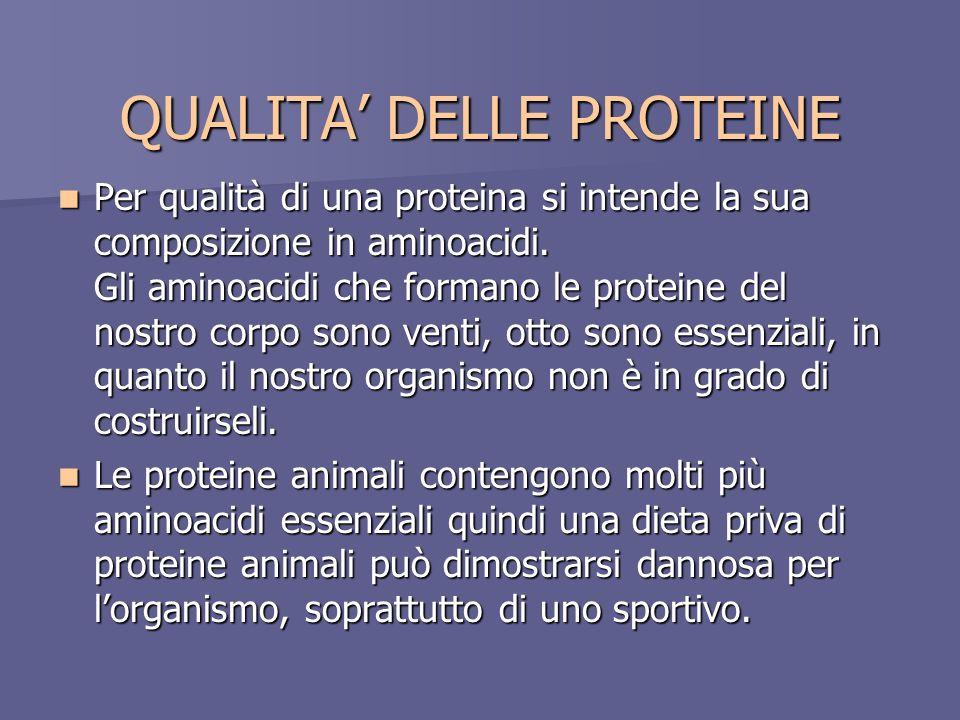 QUALITA DELLE PROTEINE Per qualità di una proteina si intende la sua composizione in aminoacidi. Gli aminoacidi che formano le proteine del nostro cor