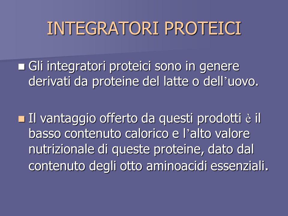 INTEGRATORI PROTEICI Gli integratori proteici sono in genere derivati da proteine del latte o dell uovo. Gli integratori proteici sono in genere deriv