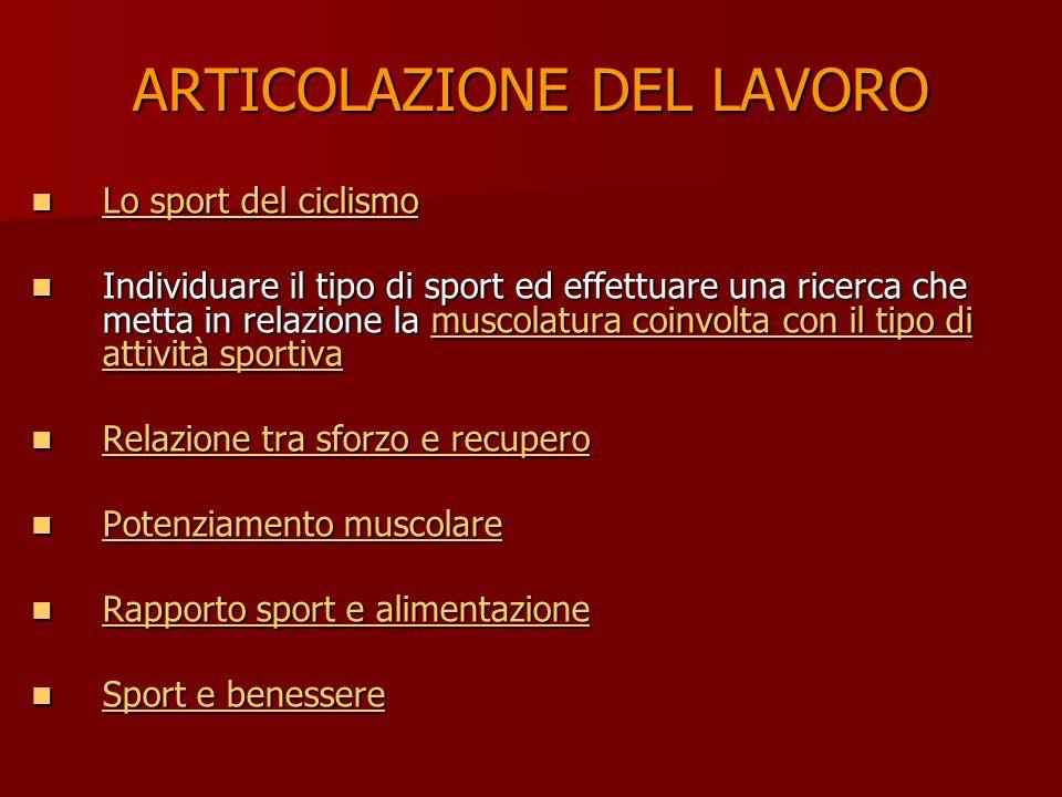 ARTICOLAZIONE DEL LAVORO Lo sport del ciclismo Lo sport del ciclismo Lo sport del ciclismo Lo sport del ciclismo Individuare il tipo di sport ed effet
