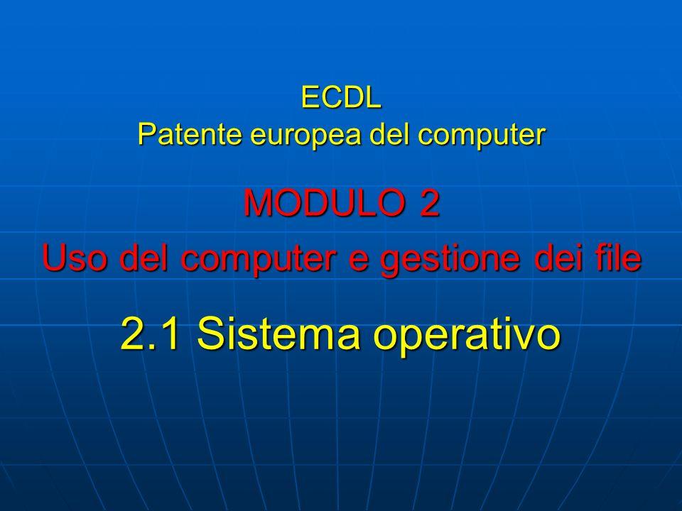ECDL Patente europea del computer MODULO 2 Uso del computer e gestione dei file 2.1 Sistema operativo