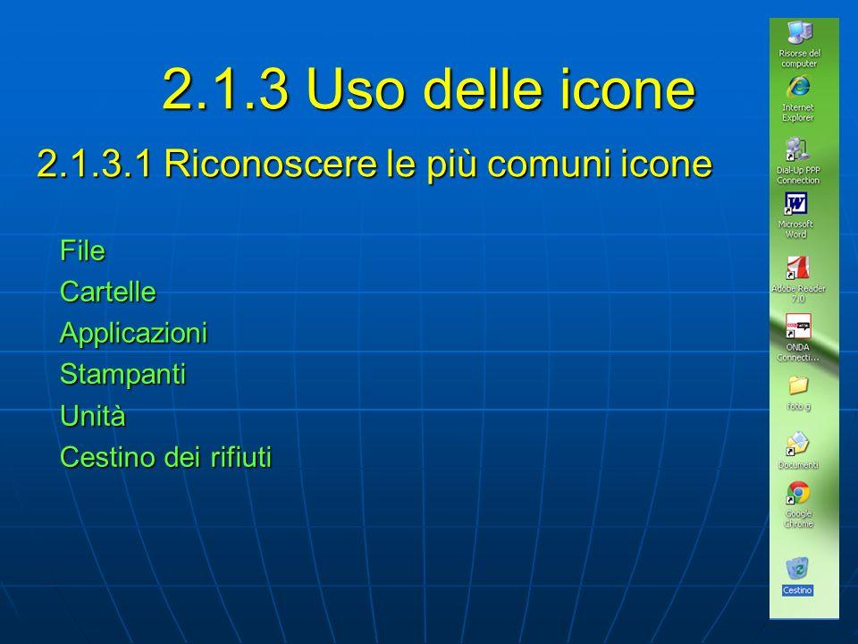2.1.3.1 Riconoscere le più comuni icone FileCartelleApplicazioniStampantiUnità Cestino dei rifiuti 2.1.3 Uso delle icone