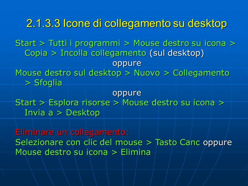 2.1.3.3 Icone di collegamento su desktop Start > Tutti i programmi > Mouse destro su icona > Copia > Incolla collegamento (sul desktop) oppure Mouse d
