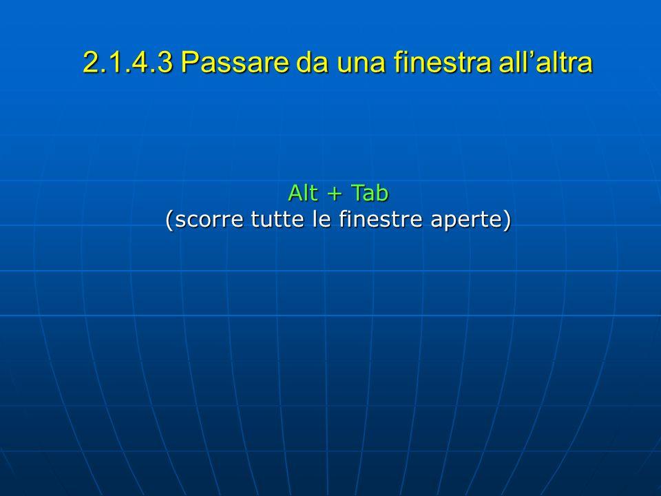 2.1.4.3 Passare da una finestra allaltra Alt + Tab (scorre tutte le finestre aperte)