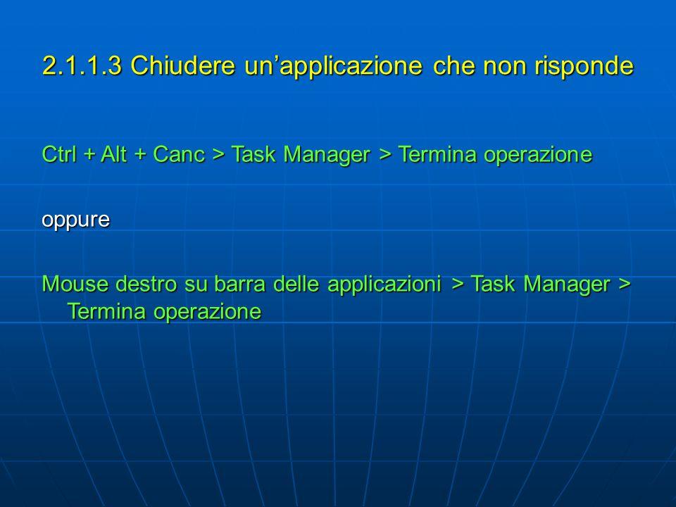 2.1.1.3 Chiudere unapplicazione che non risponde Ctrl + Alt + Canc > Task Manager > Termina operazione oppure Mouse destro su barra delle applicazioni