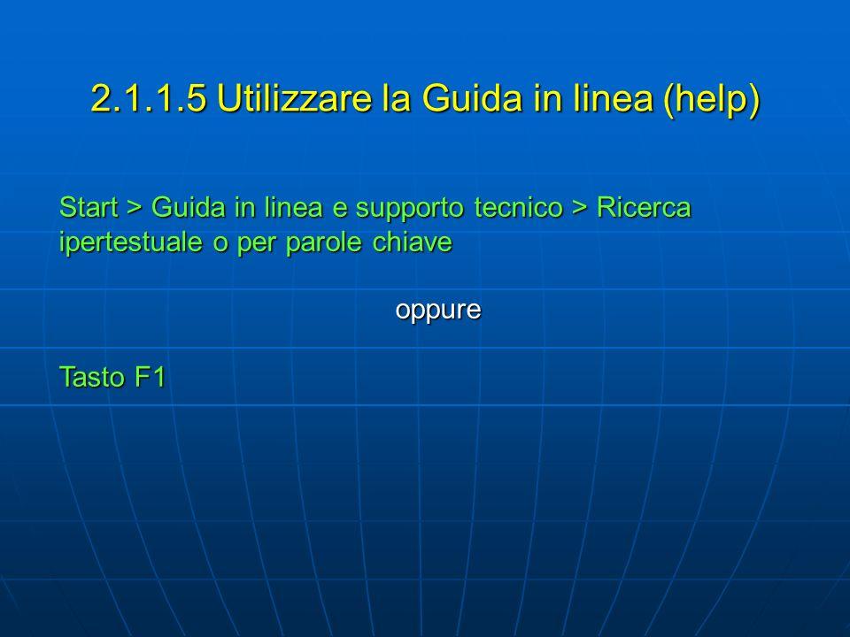 2.1.1.5 Utilizzare la Guida in linea (help) Start > Guida in linea e supporto tecnico > Ricerca ipertestuale o per parole chiave oppure Tasto F1
