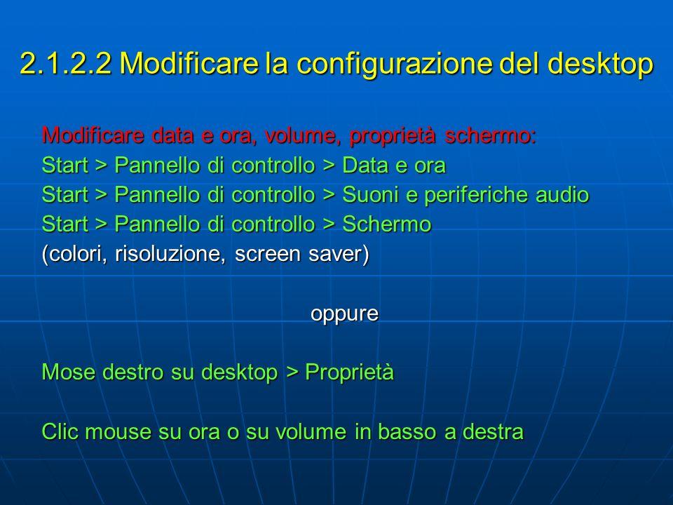 2.1.2.2 Modificare la configurazione del desktop Modificare data e ora, volume, proprietà schermo: Start > Pannello di controllo > Data e ora Start >