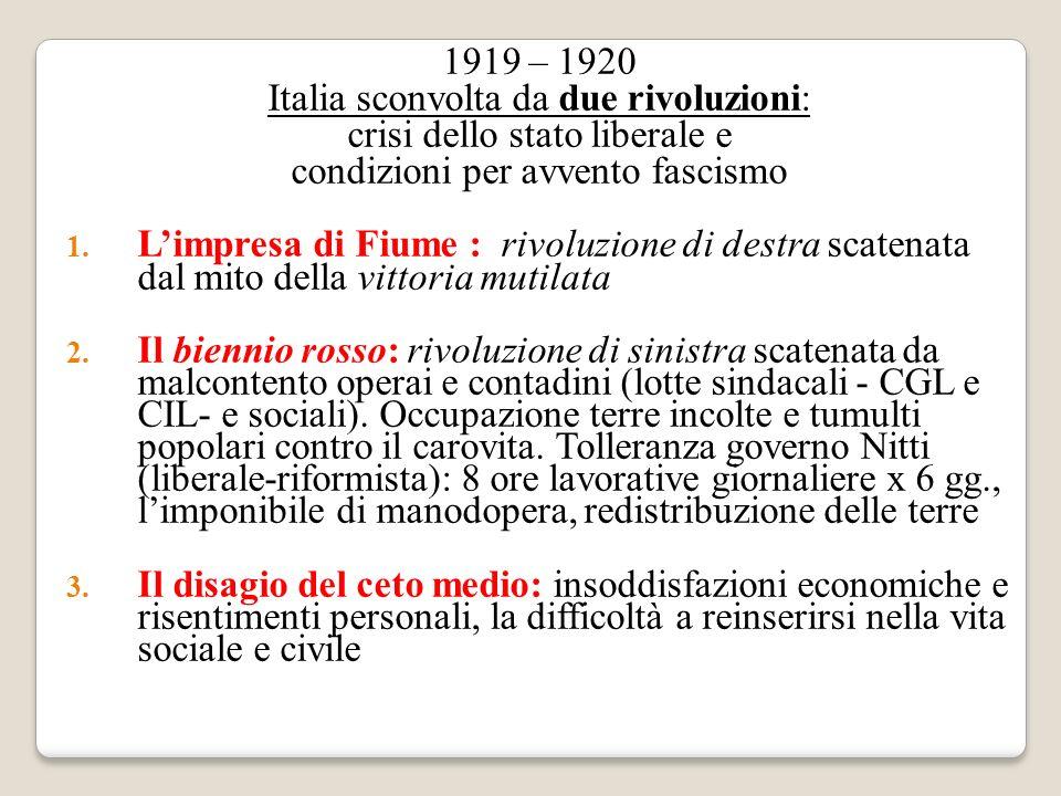 1919 – 1920 Italia sconvolta da due rivoluzioni: crisi dello stato liberale e condizioni per avvento fascismo 1. Limpresa di Fiume : rivoluzione di de