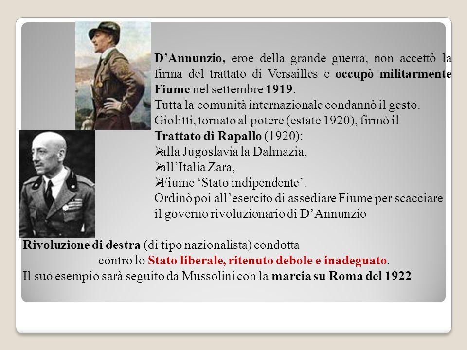 DAnnunzio, eroe della grande guerra, non accettò la firma del trattato di Versailles e occupò militarmente Fiume nel settembre 1919. Tutta la comunità