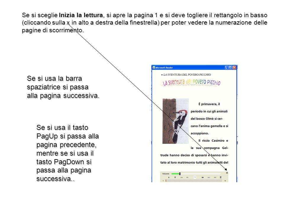 Se si sceglie Inizia la lettura, si apre la pagina 1 e si deve togliere il rettangolo in basso (cliccando sulla x in alto a destra della finestrella) per poter vedere la numerazione delle pagine di scorrimento.