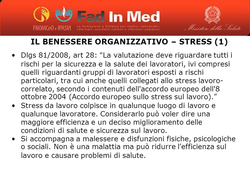 IL BENESSERE ORGANIZZATIVO – STRESS (1) Dlgs 81/2008, art 28: La valutazione deve riguardare tutti i rischi per la sicurezza e la salute dei lavoratori, ivi compresi quelli riguardanti gruppi di lavoratori esposti a rischi particolari, tra cui anche quelli collegati allo stress lavoro- correlato, secondo i contenuti dell accordo europeo dell 8 ottobre 2004 (Accordo europeo sullo stress sul lavoro).