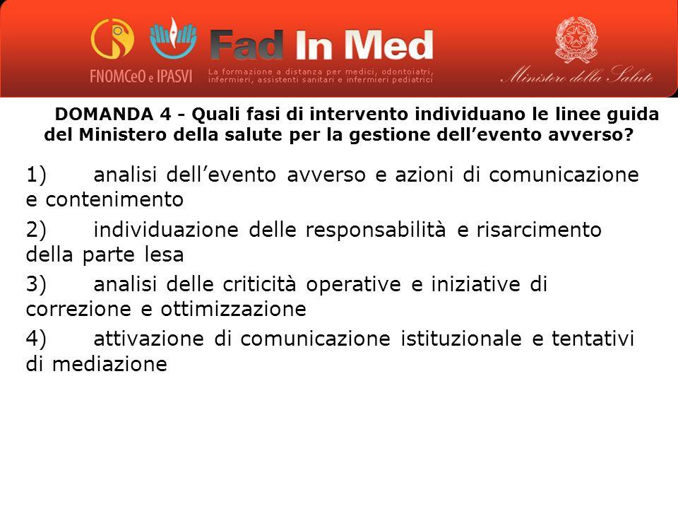 DOMANDA 4 - Quali fasi di intervento individuano le linee guida del Ministero della salute per la gestione dellevento avverso.