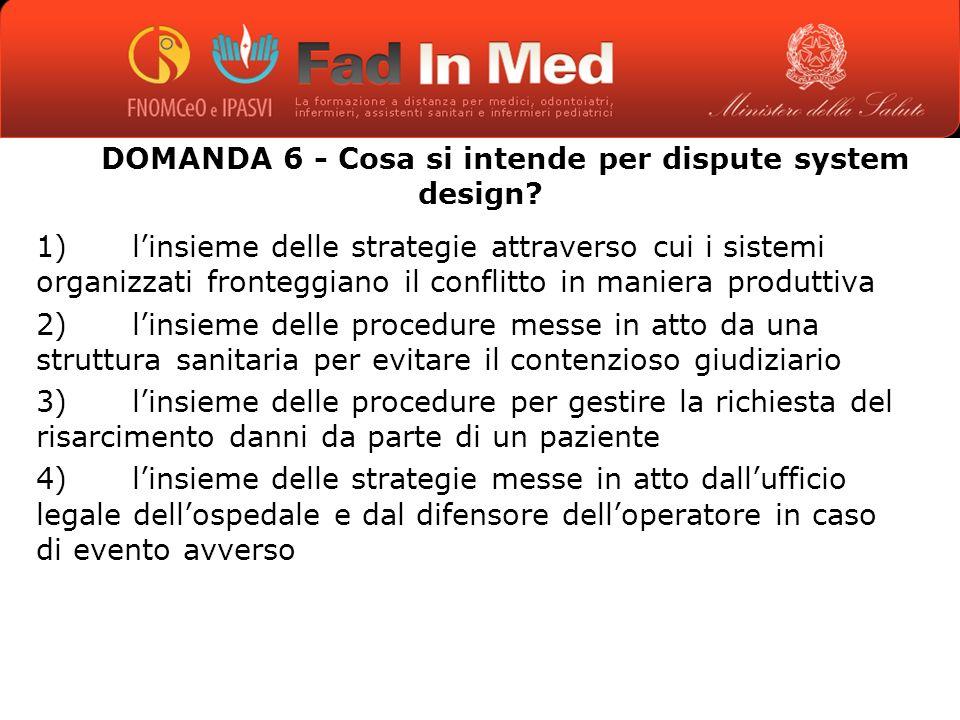 DOMANDA 6 - Cosa si intende per dispute system design.