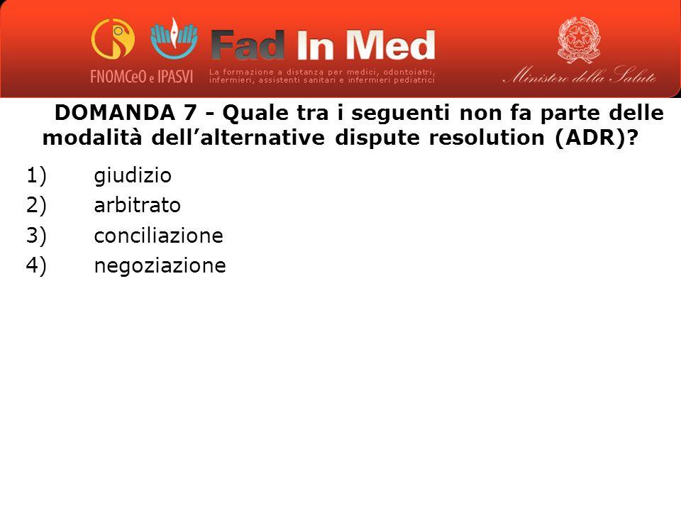 DOMANDA 7 - Quale tra i seguenti non fa parte delle modalità dellalternative dispute resolution (ADR).