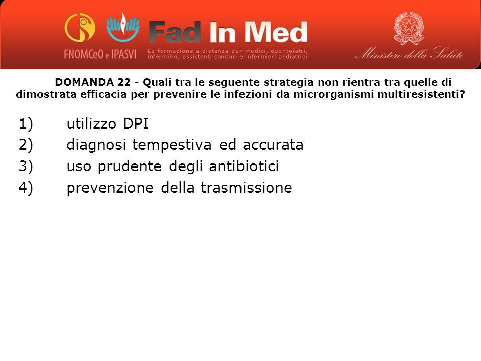 DOMANDA 22 - Quali tra le seguente strategia non rientra tra quelle di dimostrata efficacia per prevenire le infezioni da microrganismi multiresistenti.