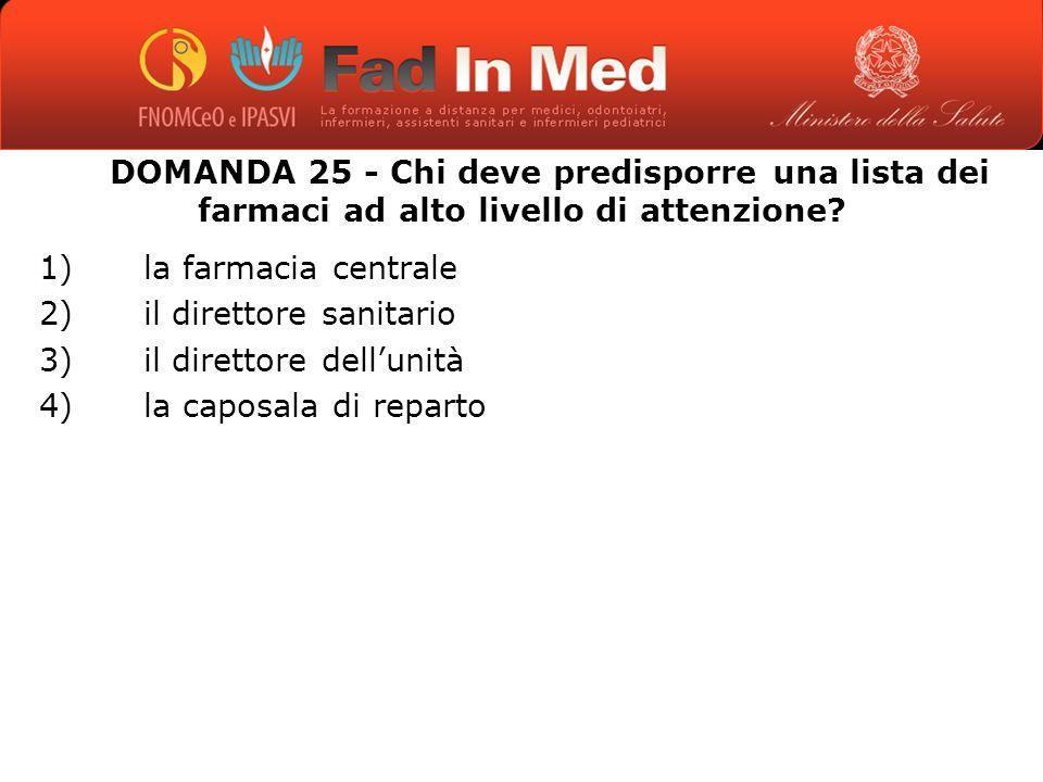 DOMANDA 25 - Chi deve predisporre una lista dei farmaci ad alto livello di attenzione.