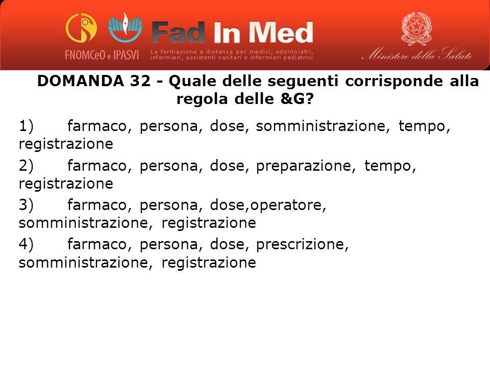 DOMANDA 32 - Quale delle seguenti corrisponde alla regola delle &G.