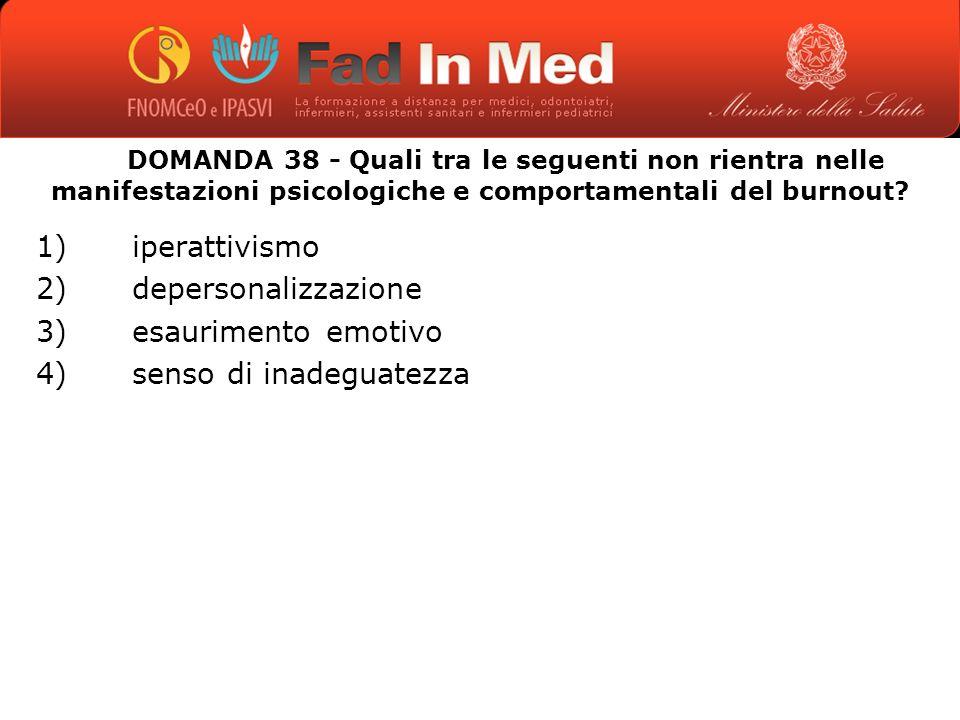 DOMANDA 38 - Quali tra le seguenti non rientra nelle manifestazioni psicologiche e comportamentali del burnout.