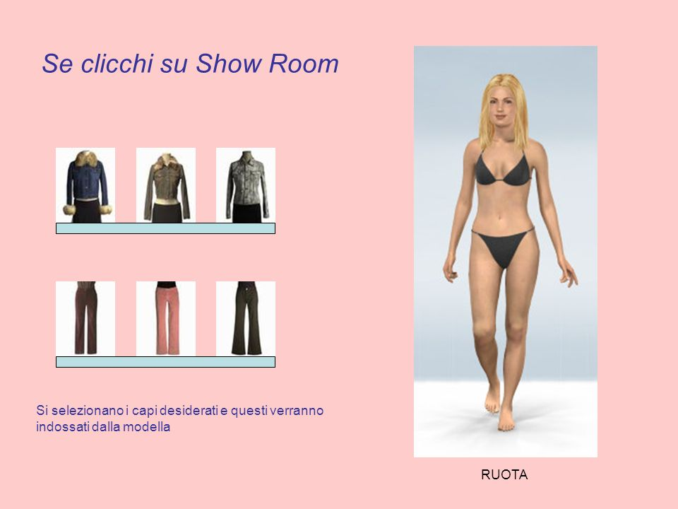 Se clicchi su Show Room Si selezionano i capi desiderati e questi verranno indossati dalla modella RUOTA