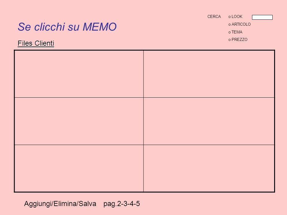 Se clicchi su MEMO Aggiungi/Elimina/Salva pag.2-3-4-5 Files Clienti CERCAo LOOK o ARTICOLO o TEMA o PREZZO