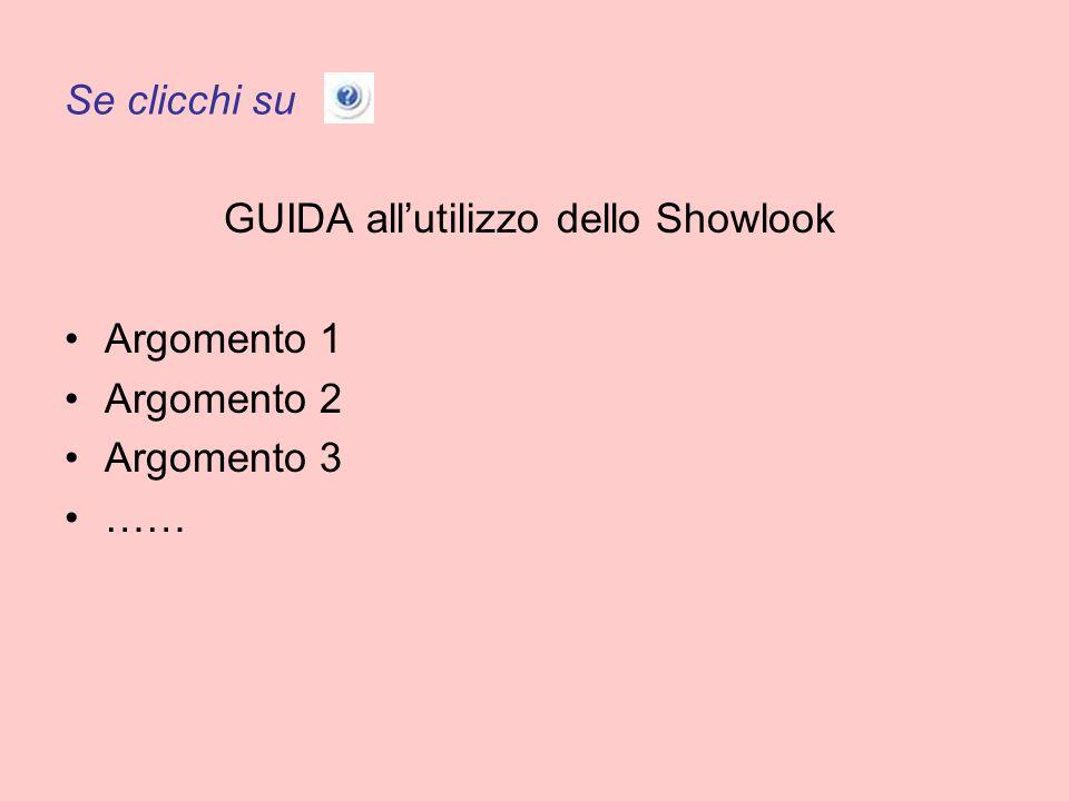 Se clicchi su GUIDA allutilizzo dello Showlook Argomento 1 Argomento 2 Argomento 3 ……