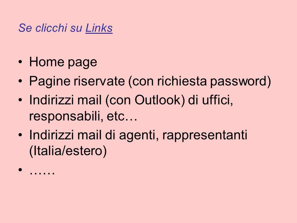 Se clicchi su Links Home page Pagine riservate (con richiesta password) Indirizzi mail (con Outlook) di uffici, responsabili, etc… Indirizzi mail di agenti, rappresentanti (Italia/estero) ……