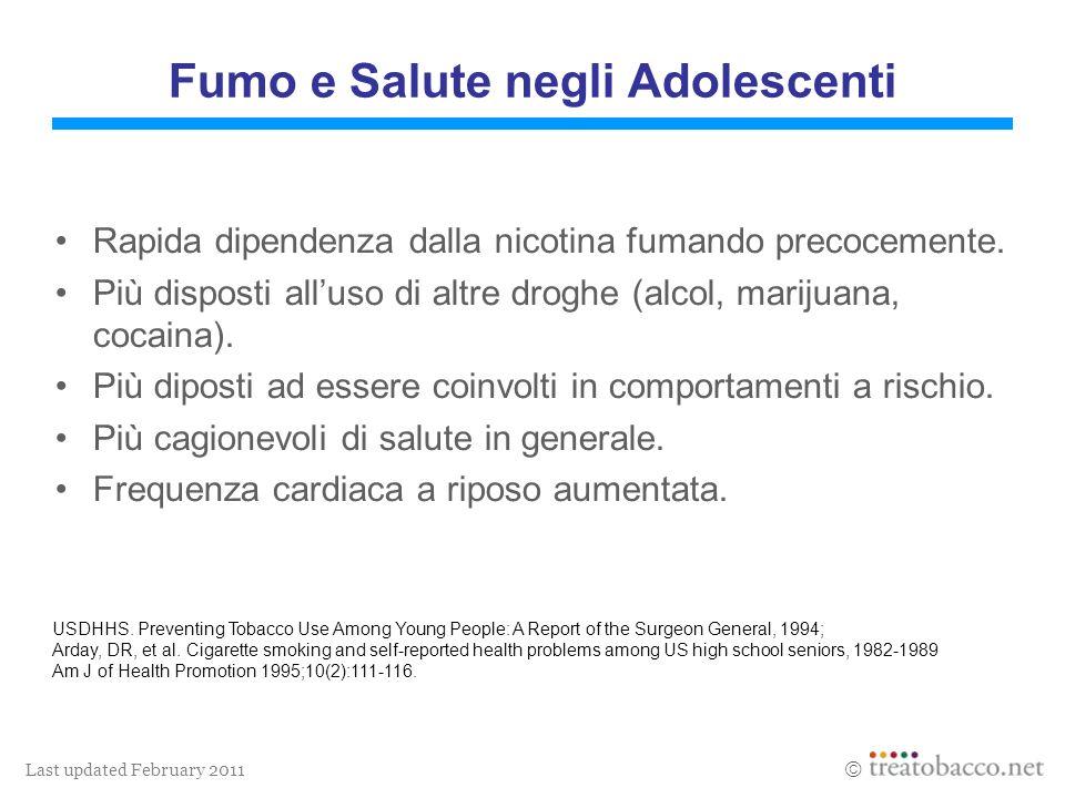 Last updated February 2011 Fumo e Salute negli Adolescenti Rapida dipendenza dalla nicotina fumando precocemente. Più disposti alluso di altre droghe