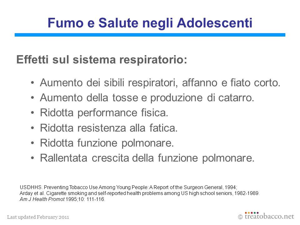 Last updated February 2011 Effetti sul sistema respiratorio: Aumento dei sibili respiratori, affanno e fiato corto. Aumento della tosse e produzione d