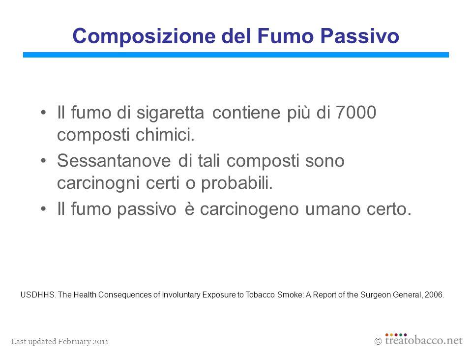 Last updated February 2011 Composizione del Fumo Passivo Il fumo di sigaretta contiene più di 7000 composti chimici. Sessantanove di tali composti son