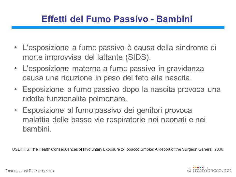 Last updated February 2011 L esposizione a fumo passivo è causa della sindrome di morte improvvisa del lattante (SIDS).