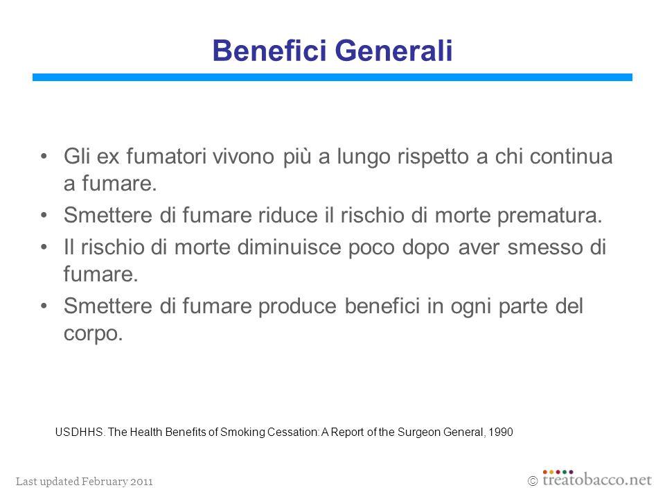 Last updated February 2011 Benefici Generali Gli ex fumatori vivono più a lungo rispetto a chi continua a fumare. Smettere di fumare riduce il rischio