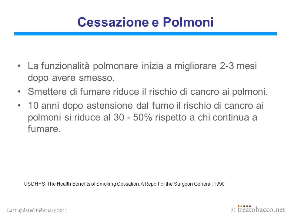 Last updated February 2011 Cessazione e Polmoni La funzionalità polmonare inizia a migliorare 2-3 mesi dopo avere smesso. Smettere di fumare riduce il