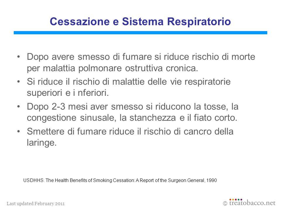 Last updated February 2011 Cessazione e Sistema Respiratorio Dopo avere smesso di fumare si riduce rischio di morte per malattia polmonare ostruttiva cronica.