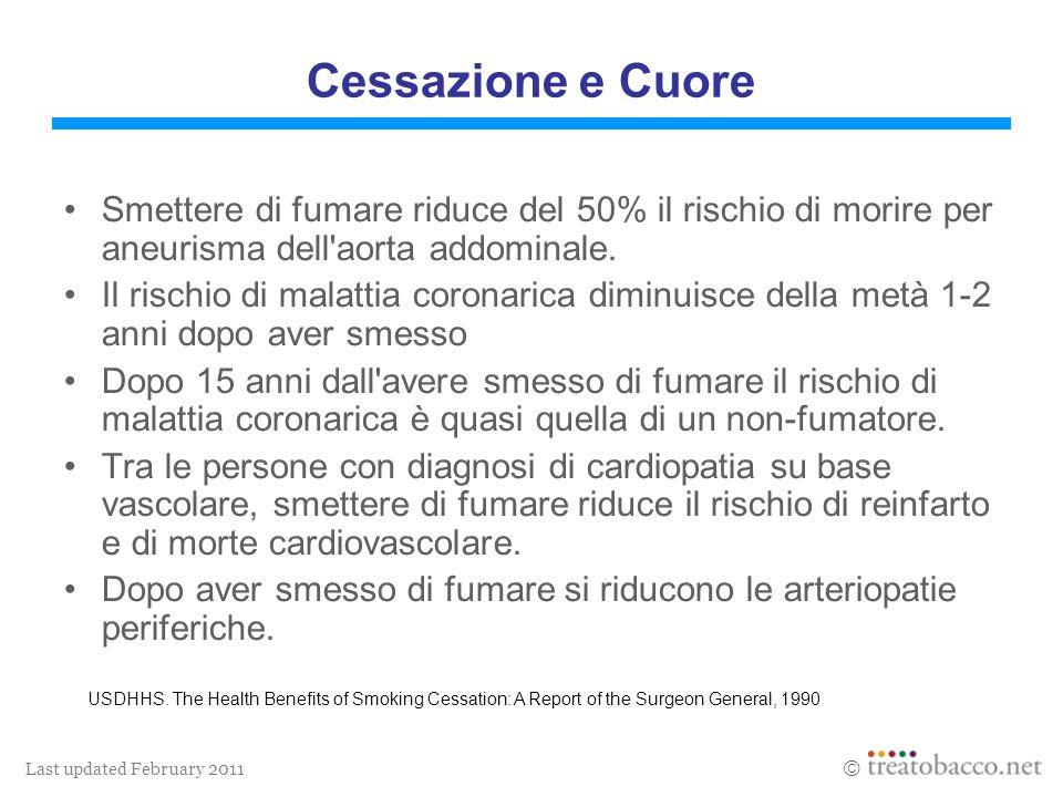 Last updated February 2011 Cessazione e Cuore Smettere di fumare riduce del 50% il rischio di morire per aneurisma dell'aorta addominale. Il rischio d