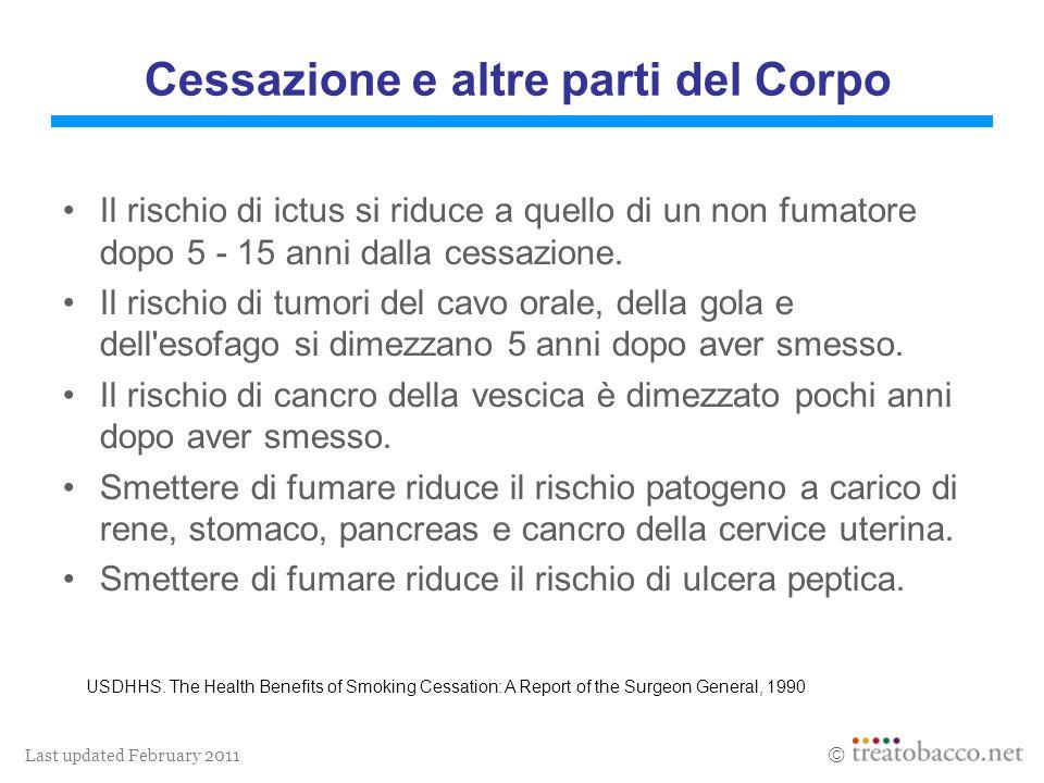 Last updated February 2011 Cessazione e altre parti del Corpo Il rischio di ictus si riduce a quello di un non fumatore dopo 5 - 15 anni dalla cessazione.